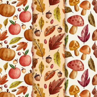 Watercolor autumn patterns collection