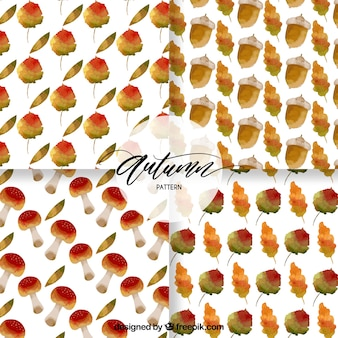Watercolor autumn patterns with acorns, leaves and mushrooms
