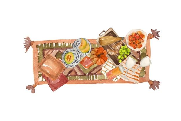 과일과 점심이 포함된 담요에 수채화 가을 선택 가을 산책 그림
