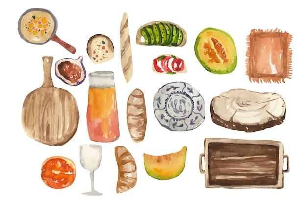 수채화 가을 피크닉 항목 격자 무늬 호박 파이