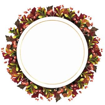 Акварель осенняя круглая рамка с осенними листьями, ягодами и цветами круг ботаническая композиция