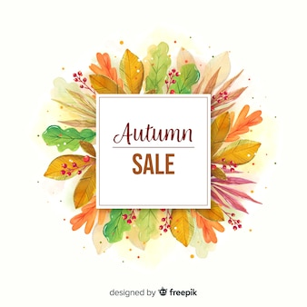 Watercolor autumn sale banner