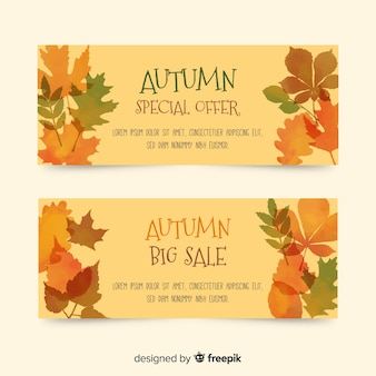 Watercolor autumn sale banners collection