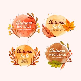 水彩秋のセールラベルコレクション