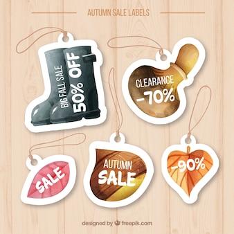水彩の秋の販売ラベル