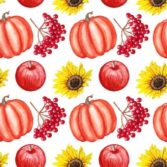 リンゴ、ガマズミ属の木、カボチャ、分離されたヒマワリと水彩秋シームレスパターン。
