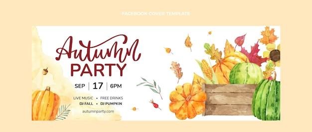 Watercolor autumn social media cover template