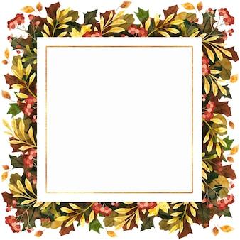 Акварель осенняя квадратная рамка с осенними листьями, ягодами и цветами. ботаническая композиция.
