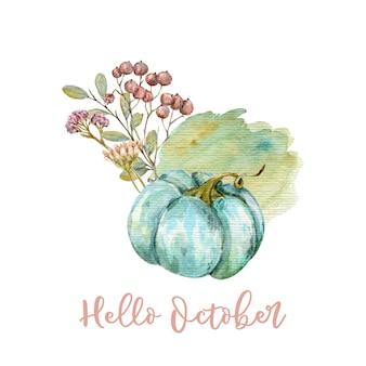 水彩画の秋の感謝祭のカード秋の背景デザインこんにちは秋