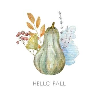 カボチャと秋のレベルの水彩画の秋の感謝祭のカードイラストこんにちは秋