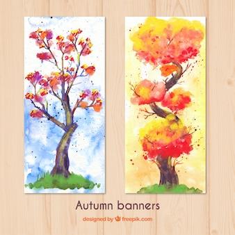 水彩秋の木のバナー