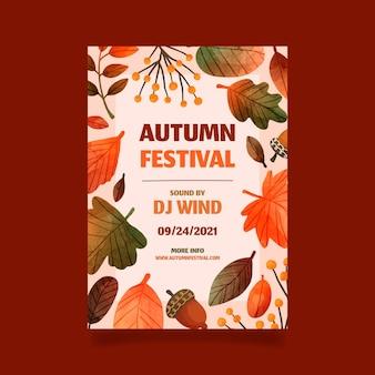 Modello di volantino verticale autunno acquerello