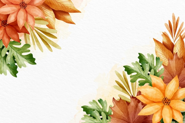 Watercolor autumn wallpaper with empty space