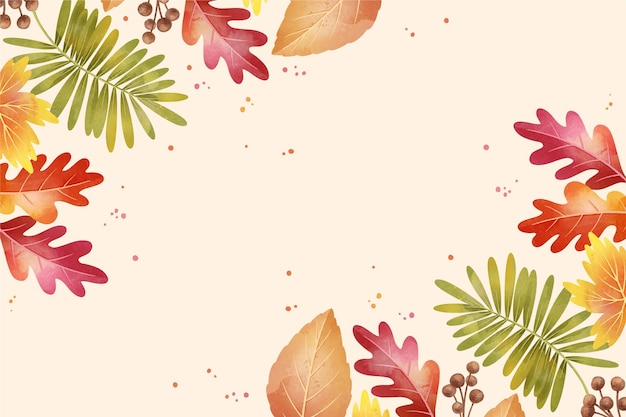 Watercolor autumn with leaves background