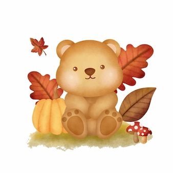 Watercolor autumn woodland animals with cute bear
