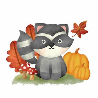 Watercolor autumn woodland animals with cute raccoon card