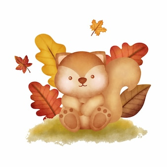 Watercolor autumn woodland animals with cute squirrel