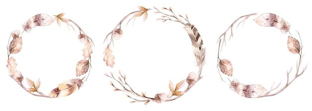 수채화 가을 화환 손으로 그린 잎 가지와 허브 라운드 프레임