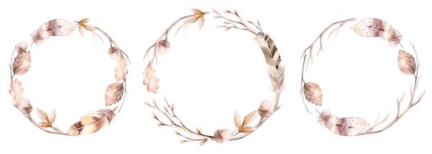 Watercolor autumn wreath hand drawn leaves branches and herbs round frames