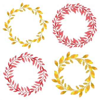 Watercolor autumn wreath pack with circle leaf border