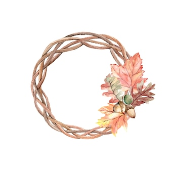 Watercolor autumn wreath with acorns and oak leaves