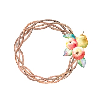 Watercolor autumn wreath with apples and pears