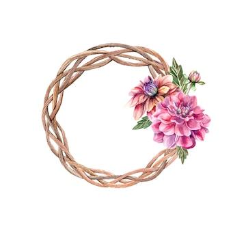 Watercolor autumn wreath with flowers dahlias