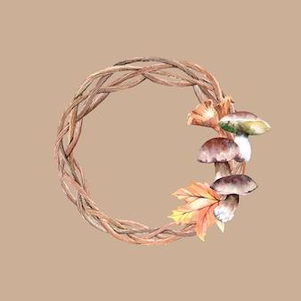 キノコと葉の水彩画の秋の花輪