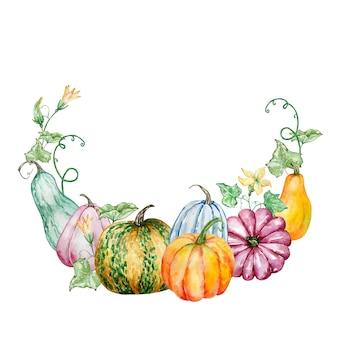 호박과 수채화가 화 환입니다. 손으로 그린 잎과 꽃 흰색 배경에 고립 된 밝은 호박. 디자인을위한 식물 그림.