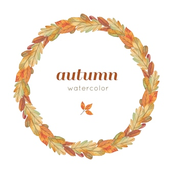Watercolor autumn wreath with yellow leaves