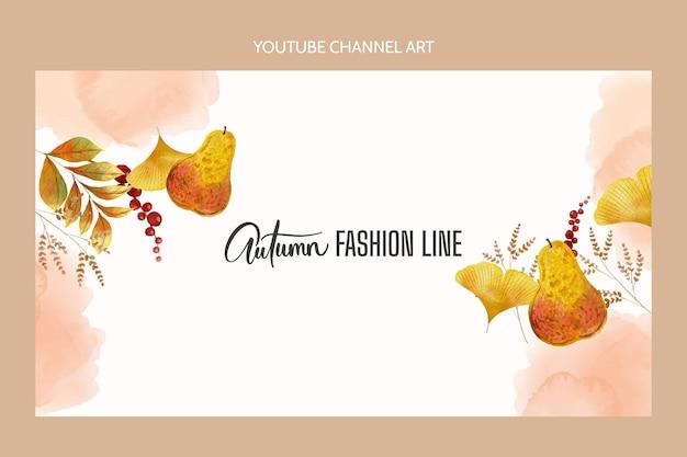 水彩の秋のyoutubeチャンネルアートテンプレート