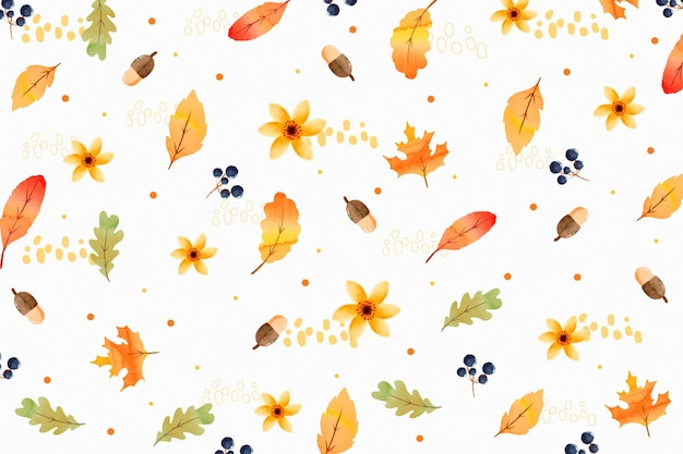 Watercolor autumnal background pattern