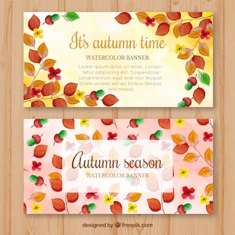 Watercolor autumnal banners with artistic style