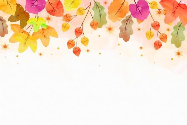 空のスペースで水彩の秋の壁紙