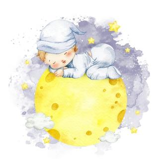 Акварель мальчик спит на луне бесплатно