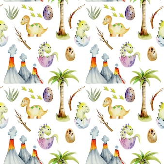Watercolor baby dinosaurs seamless pattern