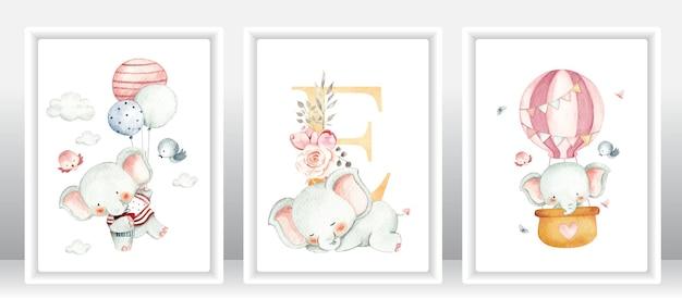 Watercolor baby elephant set