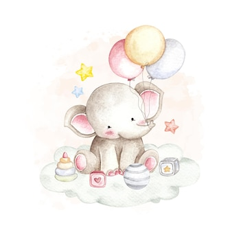 Watercolor baby elephant and the toys