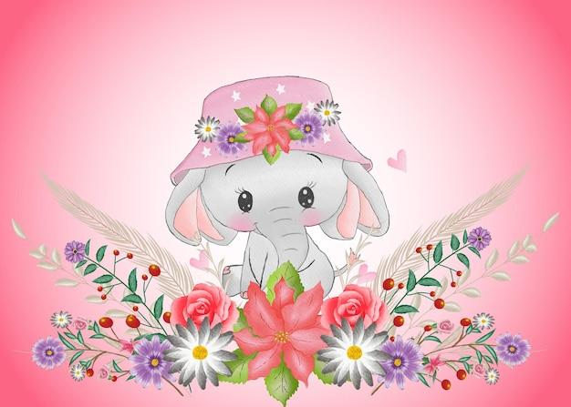 분홍색 꽃 화환이 있는 수채화 아기 코끼리