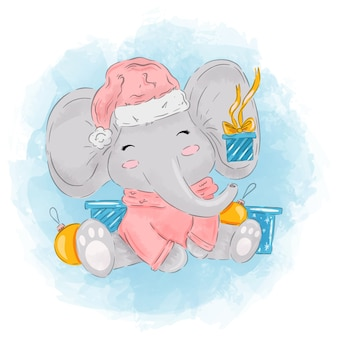 Watercolor baby elephant with presents