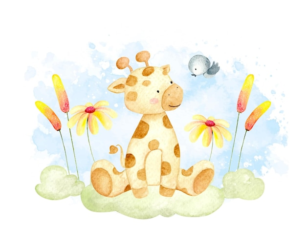 Акварельный маленький жираф сидит на траве