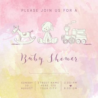 Watercolor baby girl shower card