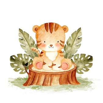 Watercolor baby lion sitting on the wood