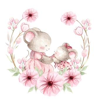 Watercolor baby mouse and mom with pink flower wreath