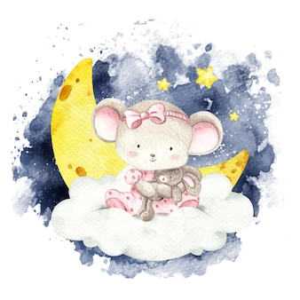 Watercolor baby mouse sitting on the cloud