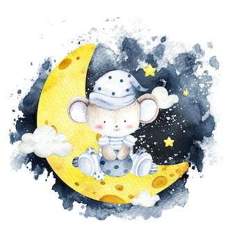 Watercolor baby mouse sitting on the moon