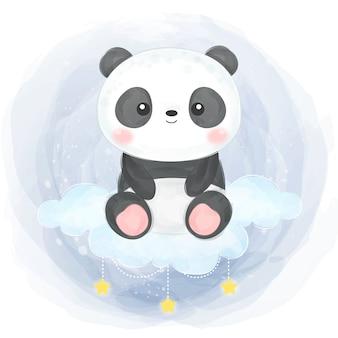 Watercolor baby panda illustration