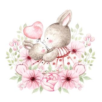 ピンクの花と水彩の赤ちゃんウサギとお母さん
