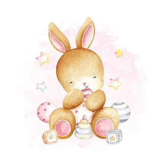 Акварельный кролик и игрушки