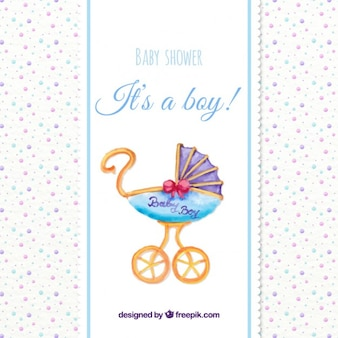 Watercolor baby shower card with a vintage buggy